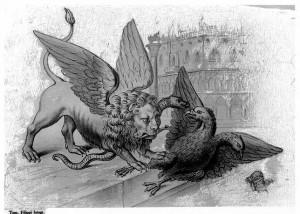 Austrijski orao se do kraja  hrvao sa talijanskim irredentizmon. Karikatura pokazuje Mletačkog lava i dvoglavog orla, koji su se dugo borili za dominaciju nad Jadranskim morem.